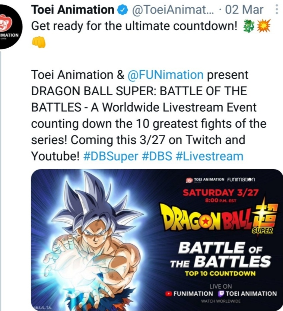 Twitter tweet posted by Toei animations